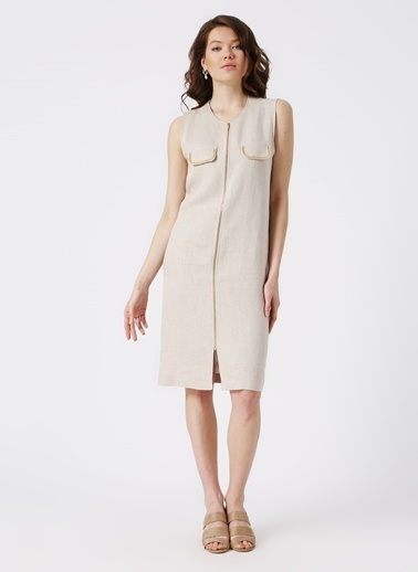 Beymen Studio Beymen Studio Cep Detaylı Vizon Elbise Bej